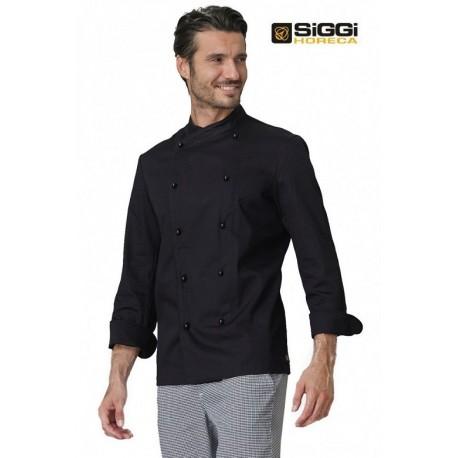 Giacca da cuoco Giacomo nera in 100% Cotone a manica lunga e bottoni a funghetto - Siggi Horeca