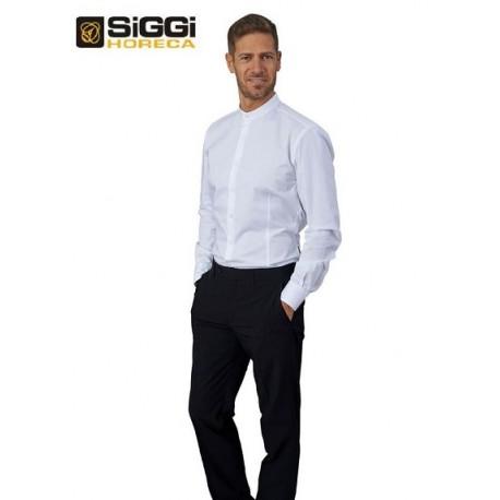 Camicia da lavoro uomo bianca Evan con collo alla coreana e manica lunga per baristi e camerieri - Siggi Horeca