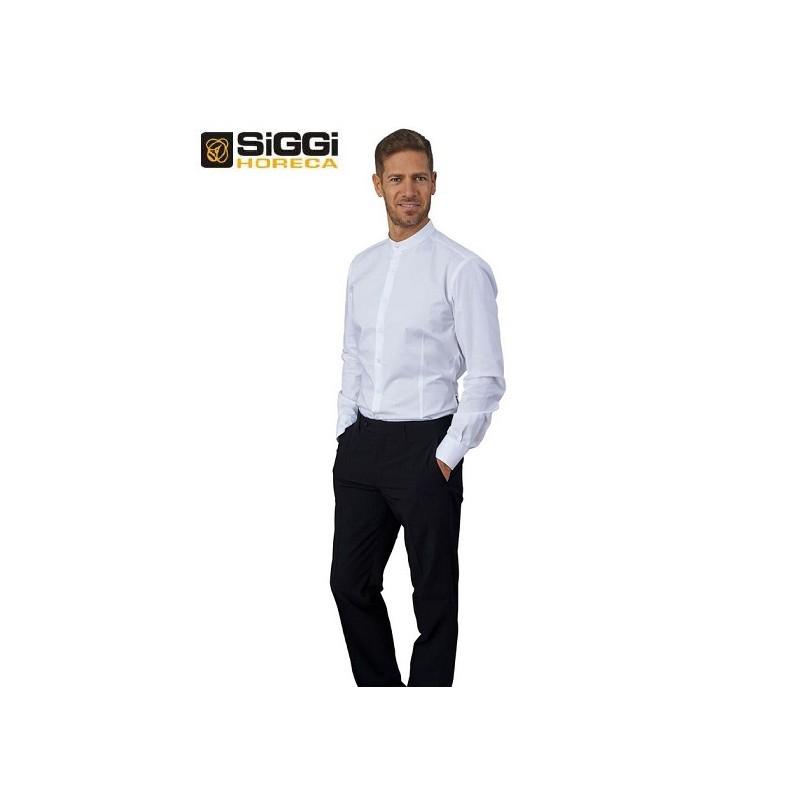 pretty nice a3627 ead93 Camicia da lavoro uomo bianca Evan con collo alla coreana e manica lunga  per baristi e camerieri - Siggi Horeca