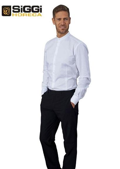 48462f416d Camicia da lavoro uomo bianca Evan con collo alla coreana e manica lunga  per baristi e camerieri - Siggi Horeca