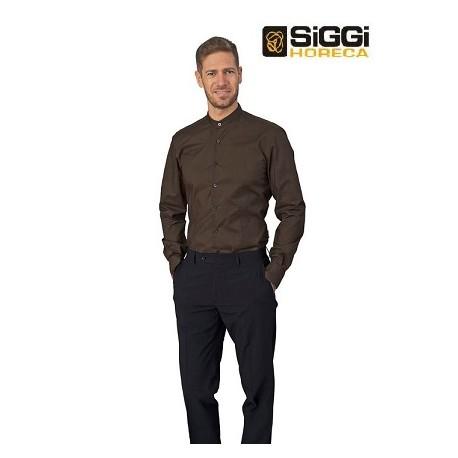 Camicia da lavoro uomo nera/marrone Evan con collo alla coreana e manica lunga per baristi e camerieri - Siggi Horeca