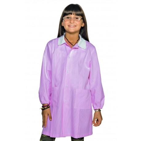 Grembiule asilo unisex Pollicino rigato azzurro/rosa con bottoni e manica lunga in 100% cotone piquet - Isacco