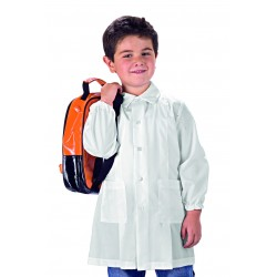 Grambiule asilo unisex pollicino bianco con bottoni e manica lunga - Isacco