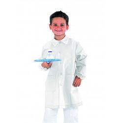 Grembiule scuola elementare unisex Pollicino bianco con bottoni e manica lunga - Isacco