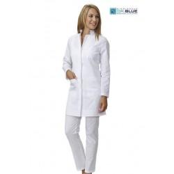 Camice da lavoro donna bianco Maris modello slim sfiancato con manica lunga e bottoni a pressione per farmaciste - dottoresse -