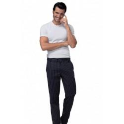 Pantalone da cuoco uomo Denzel gessato nero con bottone in 100% cotone - Siggi Horeca