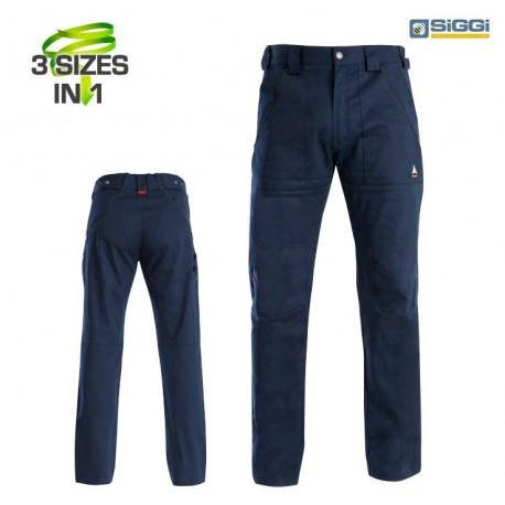 Pantalone da lavoro 3 taglie in 1 Trinity blu per operai- installatori - Siggi