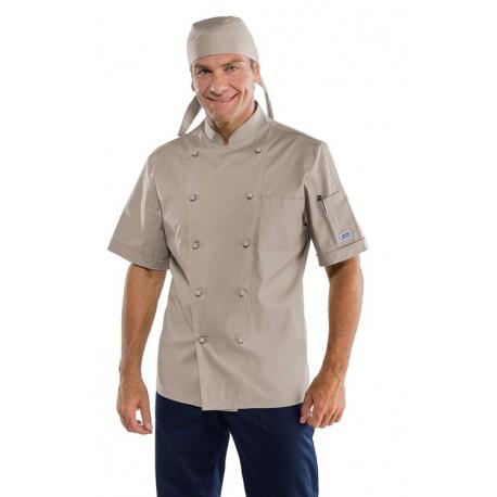 Giacca cuoco unisex modello classico con manica corta, bottoni a funghetto colori fango,tortora,militare - Isacco