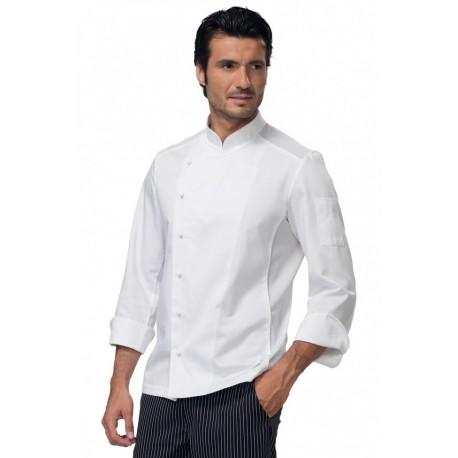 Giacca da cuoco uomo Stewart bianca manica lunga, abbottonatura laterale con inesrti in tessuto traspirante - Siggi