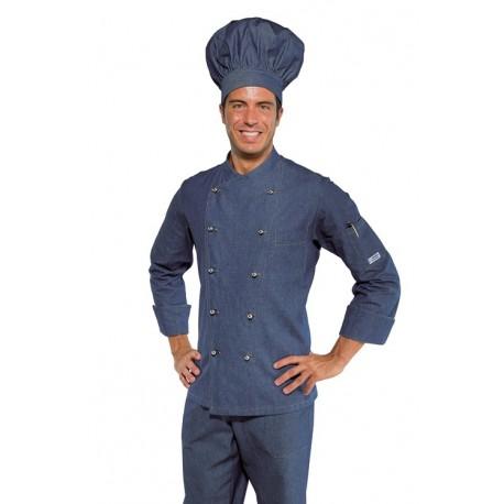 Giacca da cuoco uomo Panama in jeans modello slim manica lunga e bottoni a funghetto - Isacco