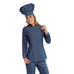 Giacca cuoco donna in jeans modello slim in 100% cotone con manica lunga e bottoni a funghetto - Isacco