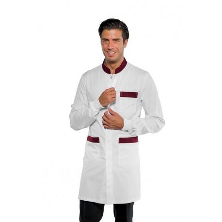 Camice da lavoro uomo Dover bianco con profili colorati con bottoni a pressione e polso in maglia per banconisti - Isacco