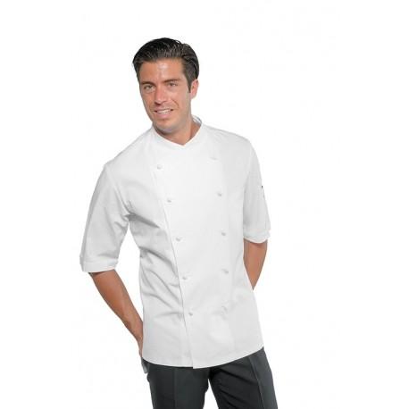 Giacca cuoco uomo Panama modello slim bianca o nera con manica corta e bottoni a funghetto - Isacco