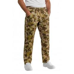 Pantalone da lavoro unisex mimetico verde o nero in 100% cotone con elastico per cuochi-pizzaioli - Isacco