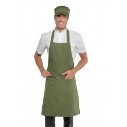 Grembiule da lavoro unisex con pettorina e tascone fango-tortora-verde per cuochi - baristi - Isacco