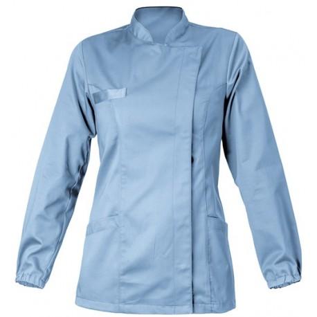 Casacca da lavoro donna Amanda colorata con  bottoni automatici  e polsino con elastico per odontotecnico-odontoiatra- Giblor's