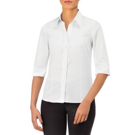 Camicia da lavoro donna Sharm regular fit manica 3/4 bianca o nera per cameriere-receptionist - Giblor's