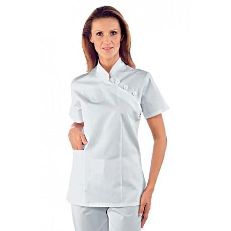 Casacca da lavoro donna sfiancata manica corta SAIGON con collo alla coreana per infermiere - Isacco