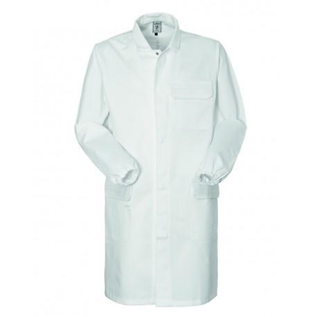 Camice da lavoro unisex bianco 2active antiacido con elastico ai polsi e bottoni a pressione - per laboratorio - Angiolina