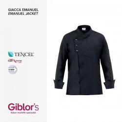 Giacca da cuoco uomo Emanuel in lyocell manica lunga  e bottoni a pressione nera  slim fit - Giblor's