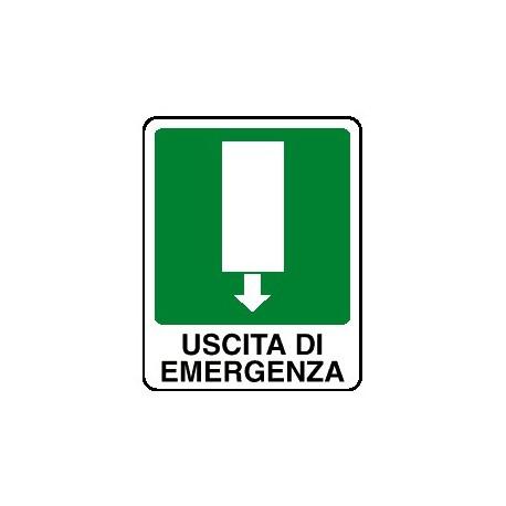 Cartello uscita di emergenza verso basso - avanti 250x310