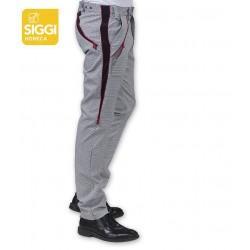 Pantalone da lavoro cuoco Trinity 3 taglie in 1 pied de poul stampato modello slim - Siggi Horeca