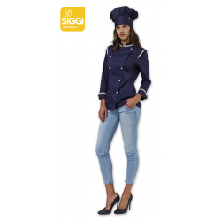 Giacca cuoco donna Dalila stretch blu o grigia con manica lunga e bottoni a funghetto - Siggi Horeca