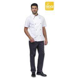 Giacca cuoco uomo Davin bianca mezza manica e bottoni a funghetto - Siggi Horeca