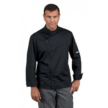 Giacca cuoco uomo Bilbao nera con manica lunga chiusura con zip - Isacco