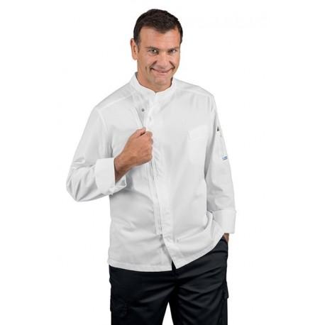 Giacca cuoco uomo Bilbao bianca con manica lunga chiusura con zip - Isacco