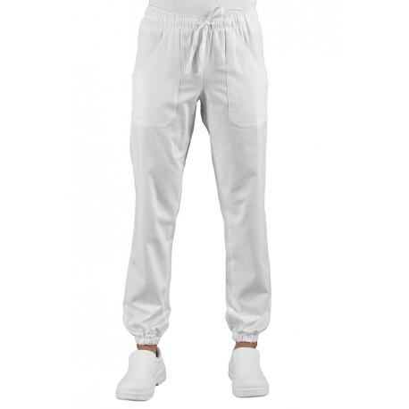 Pantalone da lavoro unisex bianco con elastico alla caviglia con tessuto elasticizzato - Isacco