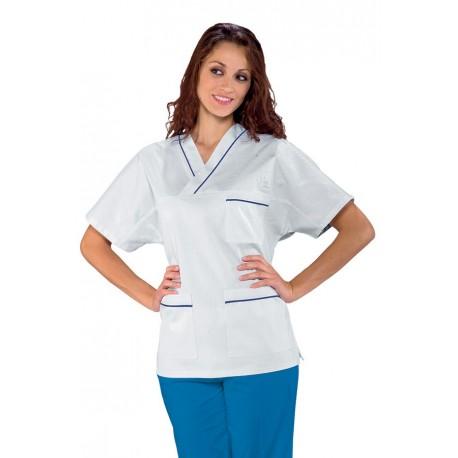 Casacca da lavoro unisex con scollo a V bianca con profili colorati per infermieri - Isacco