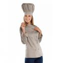 Giacca cuoco donna Lady chef sfiancata con manica lunga e bottoni a funghetto tortora- Isacco