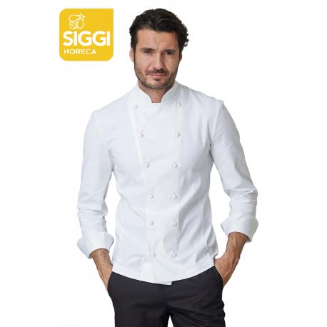 Giacca cuoco Cesare bianca con taglio elegante e sagomato , tessuto elasticizzato - Siggi