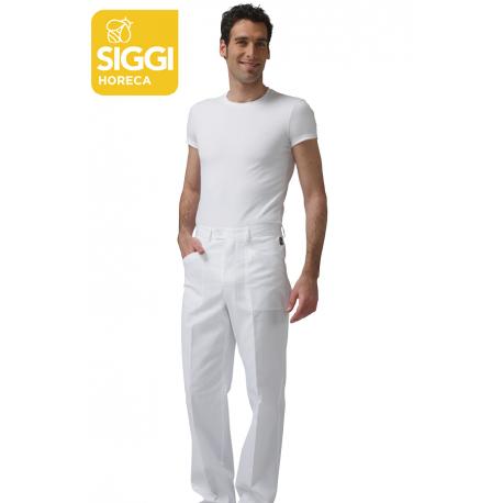 Pantalone da cuoco Tiziano bianco con bottone e cerniera - Siggi