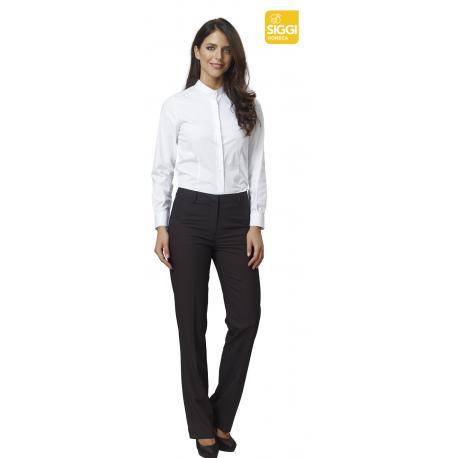 Camicia da lavoro donna Rubina easyfit bianca manica lunga e collo alla coreana - Siggi