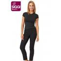 Pantalone da lavoro donna Stefany nero in piquet elasticizzato per estetiste-parrucchiere - Siggi