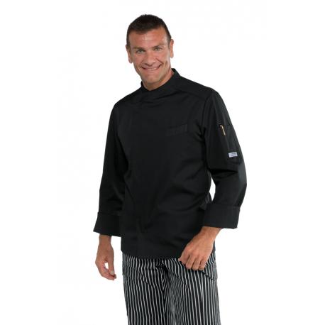 Giacca da cuoco Bilbao  nera unisex maniche lunghe e bottoni a pressione - Isacco
