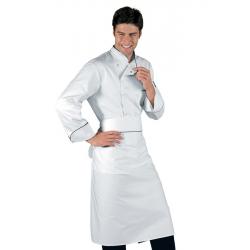 Giacca cuoco Bilbao bianca con pofilo nero manica lunga e bottoni a  pressione - Isacco 1cf5cab2772