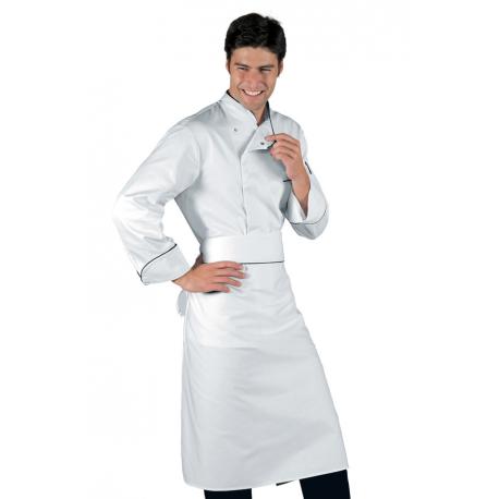 Giacca cuoco Bilbao bianca con pofilo nero manica lunga e bottoni a pressione - Isacco