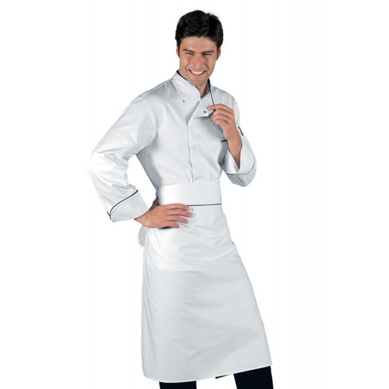 Giacca cuoco Bilbao bianca con pofilo nero manica lunga e bottoni a  pressione - Isacco 6cd16fdee8cb