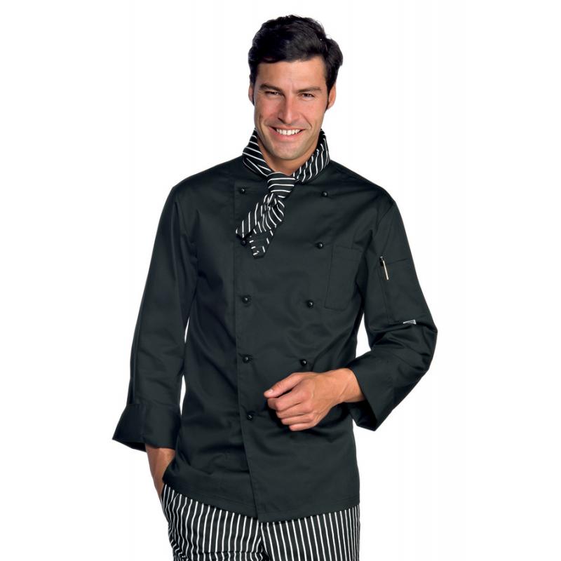 innovative design 1e047 123b9 Giacca cuoco uomo blackchef nera con manica lunga e bottoni a funghetto -  Isacco