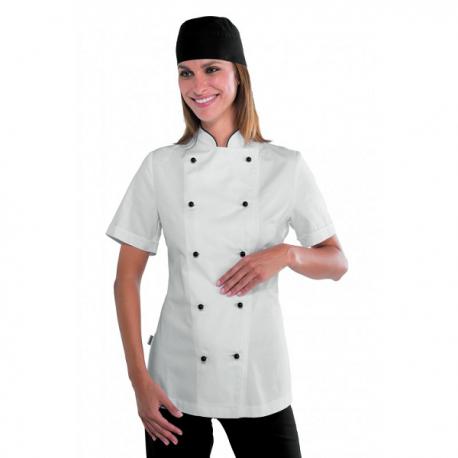 Giacca cuoco donna manica corta bianca Lady Granchef con bottoni funghetto neri  - Isacco
