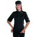 Giacca cuoco LADY SNAPS manica corta con bottoni a pressione bicolore nero/bianco - Isacco