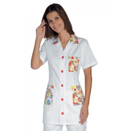 Casacca da lavoro donna Marbella smile manica corta per pediatri - educatori - Isacco