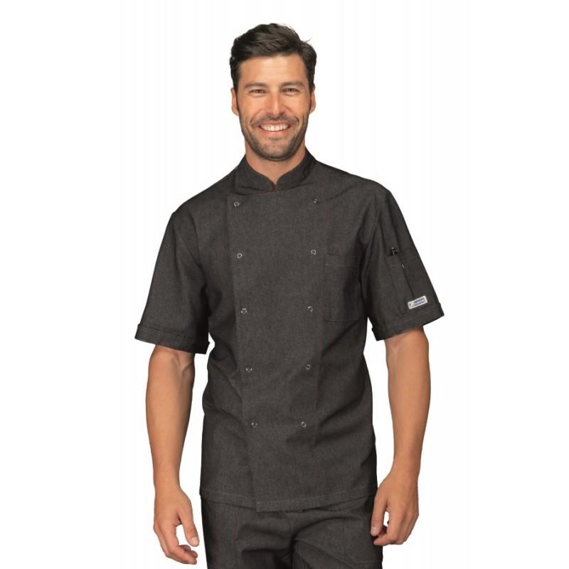 Giacca cuoco classica in jeans con manica corta e bottoni a pressione -  Isacco. Loading zoom eccf4a27ab37
