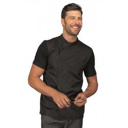 Giacca cuoco uomo Franklin nera con manica corta e parte posteriore in tessuto jersey e parte anteriore super dry - Isacco