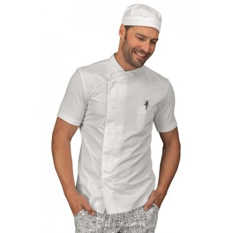 Giacca cuoco uomo Franklin bianca con manica corta e parte posteriore in tessuto jersey e parte anteriore super dry - Isacco
