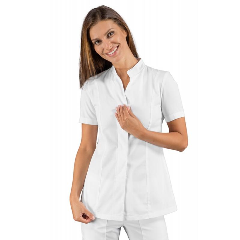 50f71cc67b9a Casacca da lavoro donna Bohème bianca o nera con manica corta, bottoni  classici in tessuto. Loading zoom