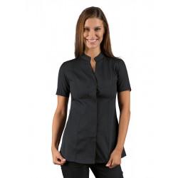 Casacca da lavoro donna Bohème bianca o nera con manica corta, bottoni classici in tessuto stretch - no stiro - Isacco